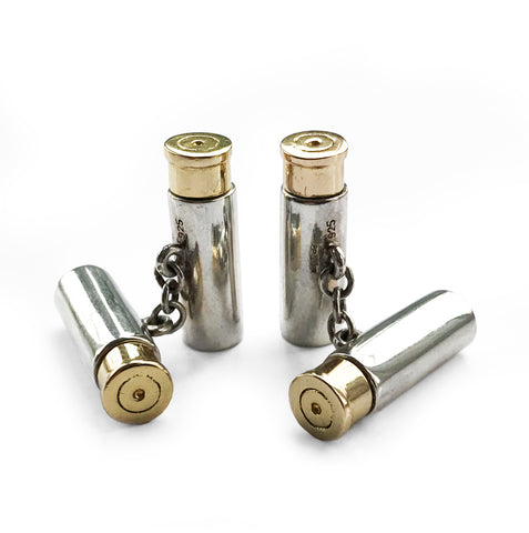 Solid Silver Gun Cartridge Cufflinks with Gold Plated Caps. Find this and other Smart Vintage items at Intovintage.co.uk.