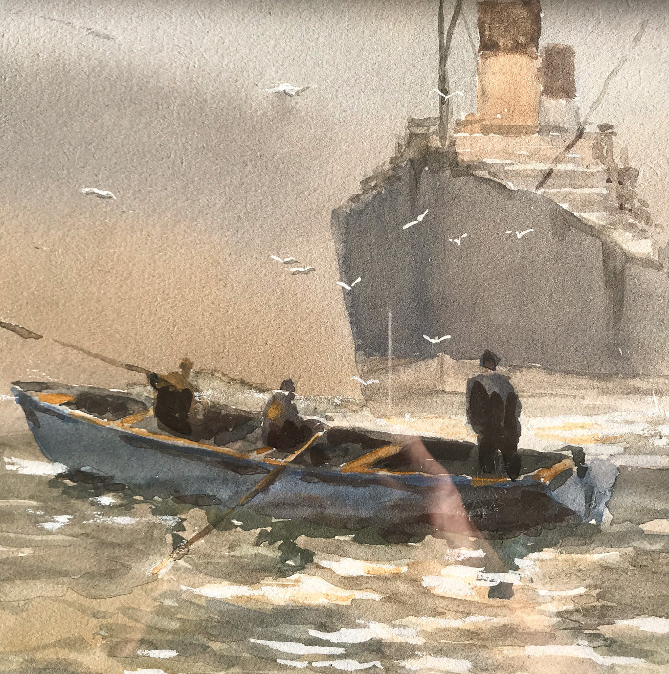Beautiful original watercolour by FRSA member 'Sydney Vale' depicting a rowing boat and steam liner