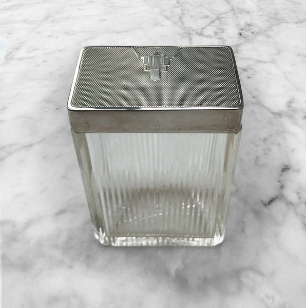 1935 Art Deco English hallmarked solid silver and cut glass rectangular dressing table or soap jar by William Neale of Birmingham.Superior quality with large heavy weight engraved Art Deco motif silver top with a gilt interior - SHOP NOW - www.intovintage.co.uk