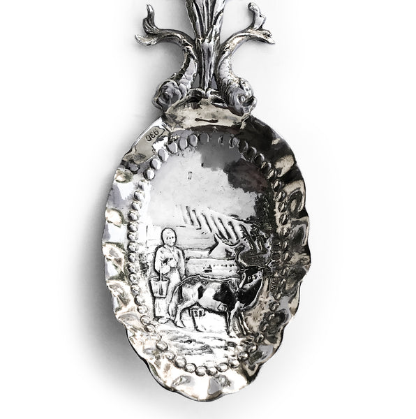 Solid Silver Dutch Tea Caddy Spoon circa 1750