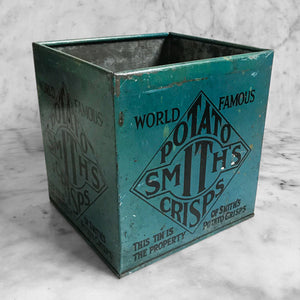 Early 1930s Smith's Potato Crisps shop counter box. These tins were supplied by the company to shops to put their freshly made Crisps in. In a great petrol blue colour with graphics to each side - SHOP NOW - www.intovintage.co.uk
