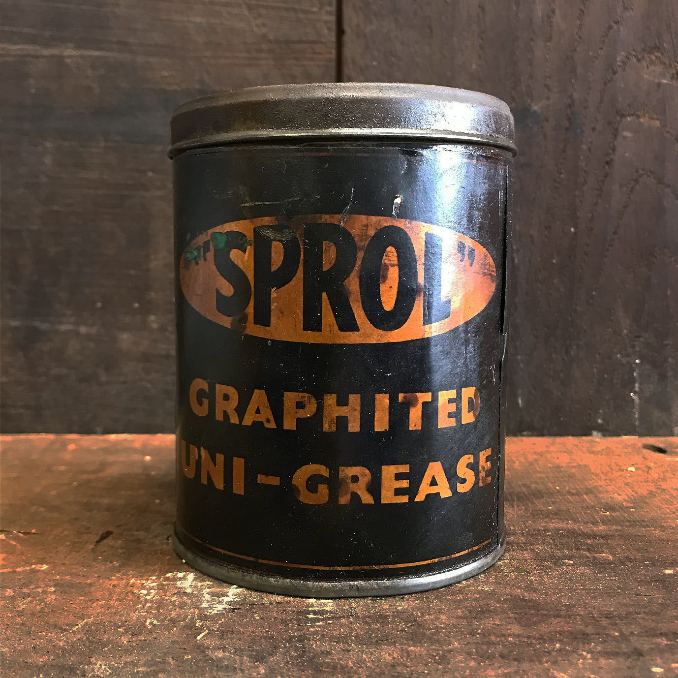 Super rare Sprol Graphited Uni Grease Can manufactured by Hopenhartope & Co Ltd. Hammersmith Broadway, London W.6 - SHOP NOW - www.intovintage.co.uk