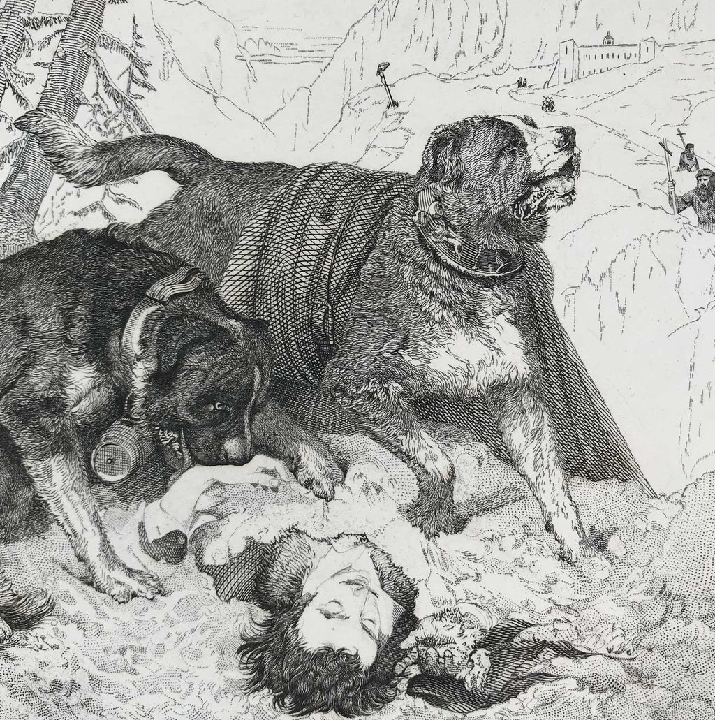 Period Etching of a St Bernard Rescue. Find Antique Etchings & other Antique Prints at IntoVintage.co.uk