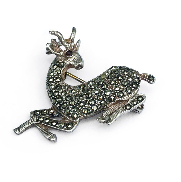 Silver Stag Marcasite Brooch