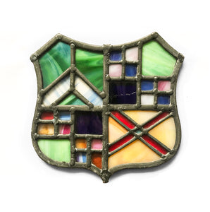 Colourful stained glass window panel of a crest - SHOP NOW - www.intovintage.co.uk