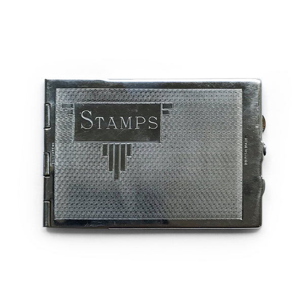 Handy little Deco chrome stamp case - SHOP NOW - www.intovintage.co.uk