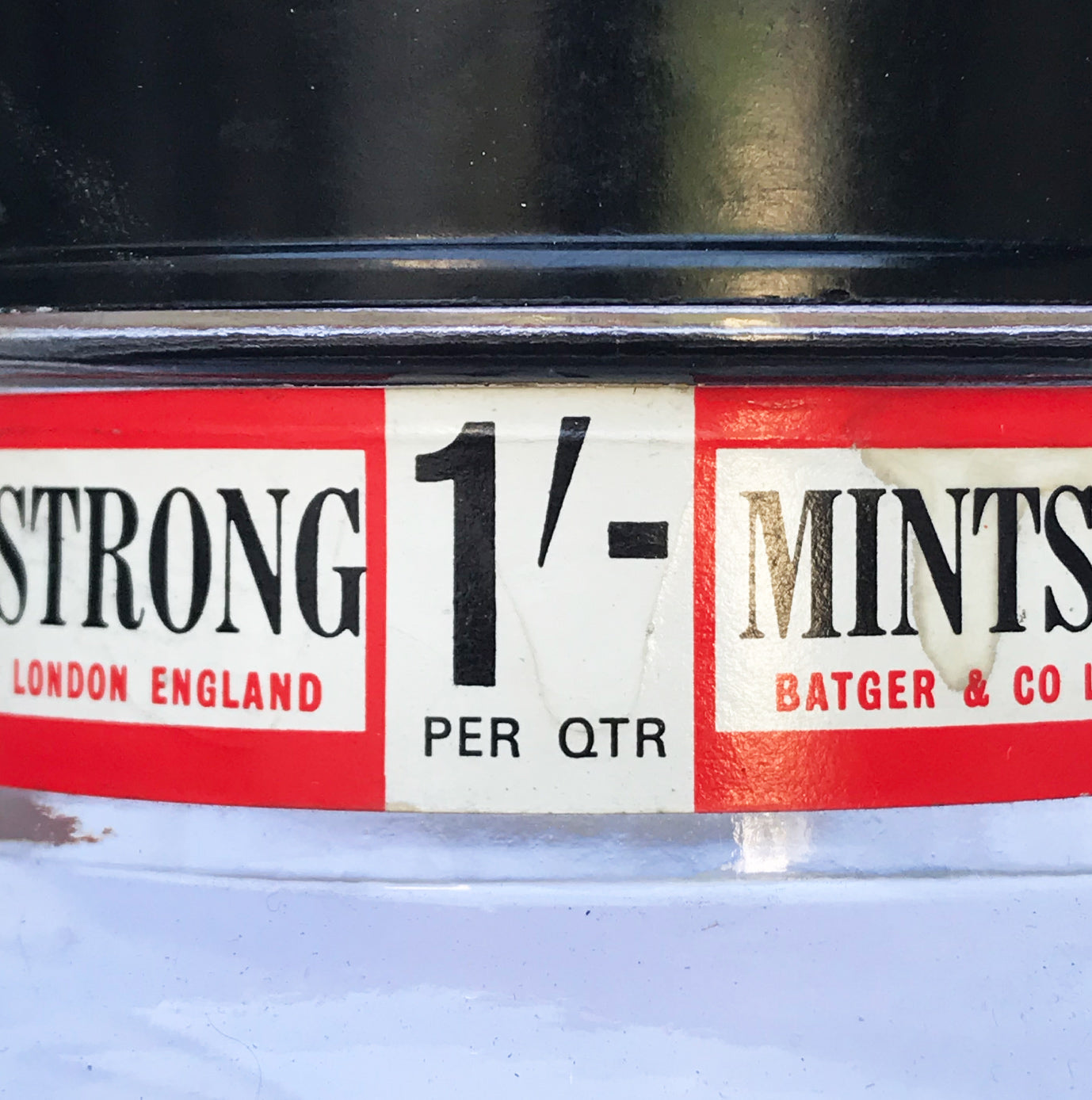 Vintage Glass Batger's Extra Strong Mint Jar. Ideal for the kitchen as a sweet jar or for some other tasty morsels! SHOP NOW - www.intovintage.co.uk
