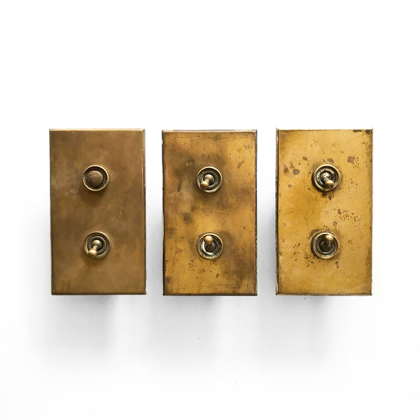 Set of 3 solid brass 1930's house switches. SHOP NOW www.intovintage.co.uk