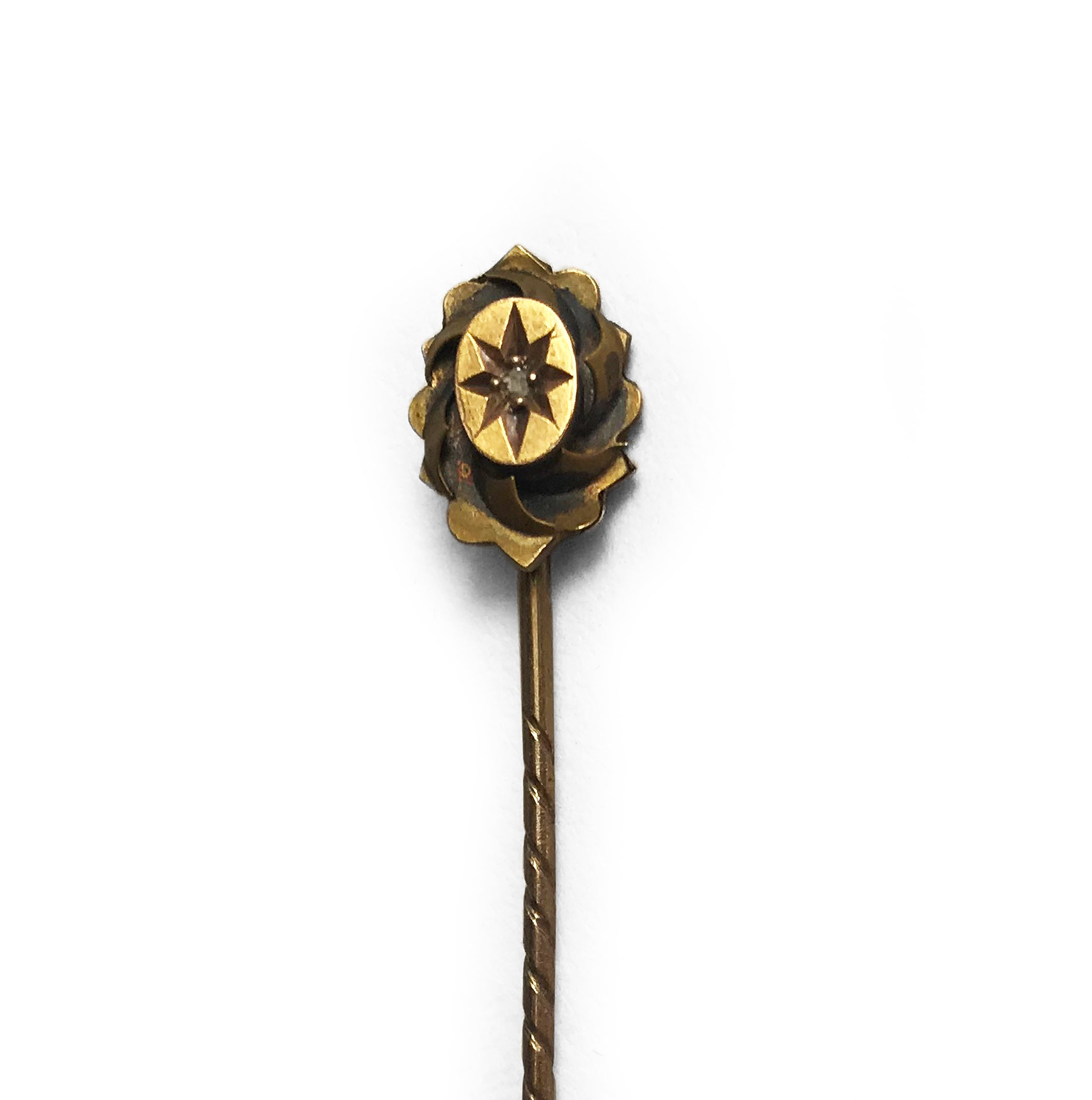 Smart Edwardian 15 CT gold tie pin with small inset diamond - SHOP NOW - www.intovintage.co.uk