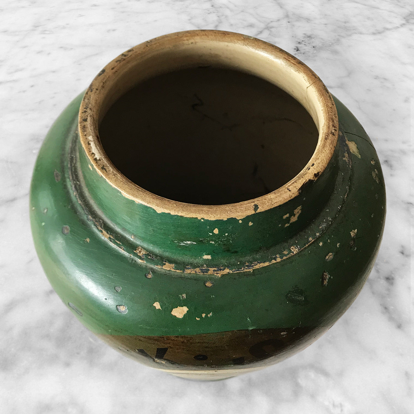 Antique Dark Shag Tobacco Jar. Finished in a wonderfully distressed deep bottle green with the words 'DARK SHAG' on a gold background above the image of a young lady in period dress - SHOP NOW - www.intovintage.co.uk