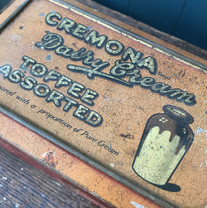 Nicely aged Vintage Cremona Toffee Tin with a great patina to the print - SHOP NOW - www.intovintage.co.uk