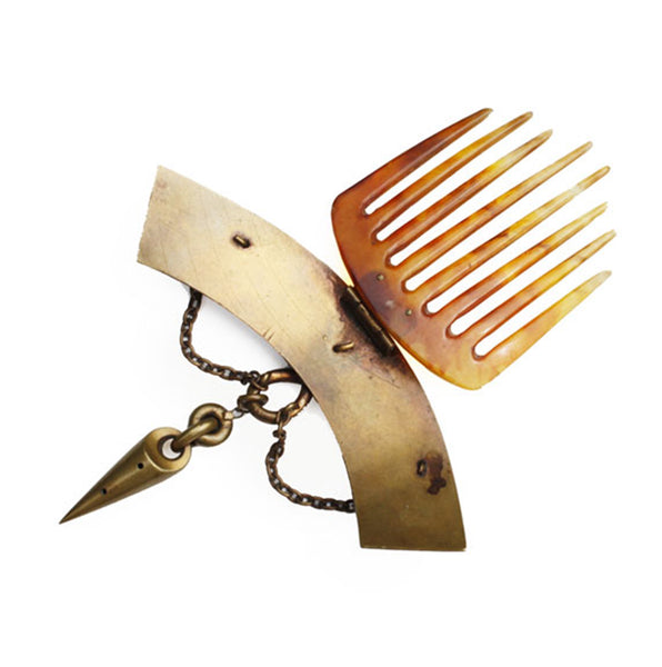 Antique Horn Hair Comb / Peigne d'Alger