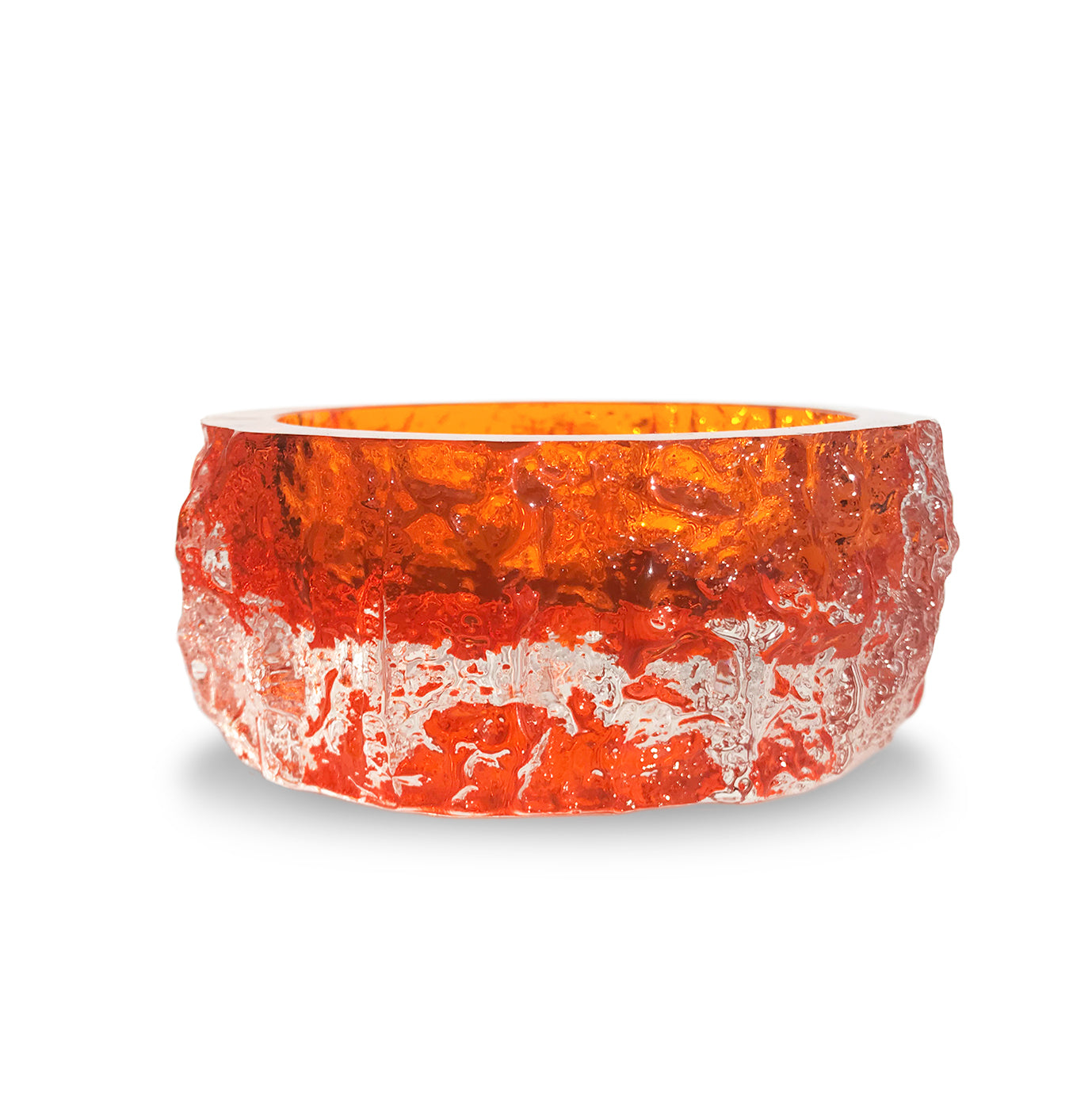 Whitefriars tangerine bark bowl, from the 'Textured' range, designed by Geoffrey Baxter - SHOP NOW - www.intovintage.co.uk