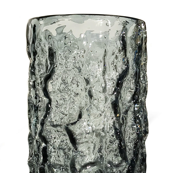 "Whitefriars pewter glass cylindrical 7.5"" 'Bark' vase, from the 'Textured' range, designed by Geoffrey Baxter - SHOP NOW - www.intovintage.co.uk"