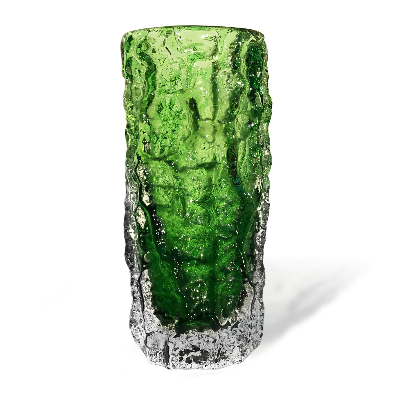 "Whitefriars Meadow Green glass 7.5"" 'Bark' vase"