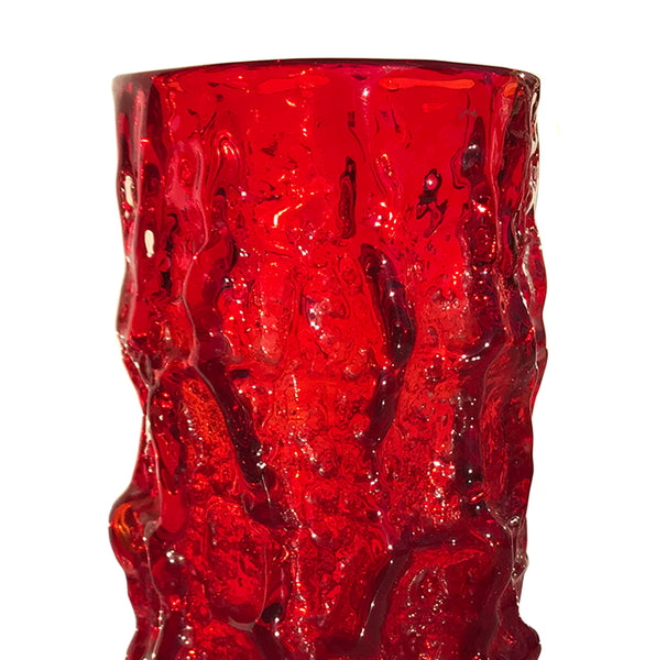 "Whitefriars Ruby Red glass cylindrical 7.5"" 'Bark' vase, from the 'Textured' range, designed by Geoffrey Baxter - SHOP NOW - www.intovintage.co.uk"