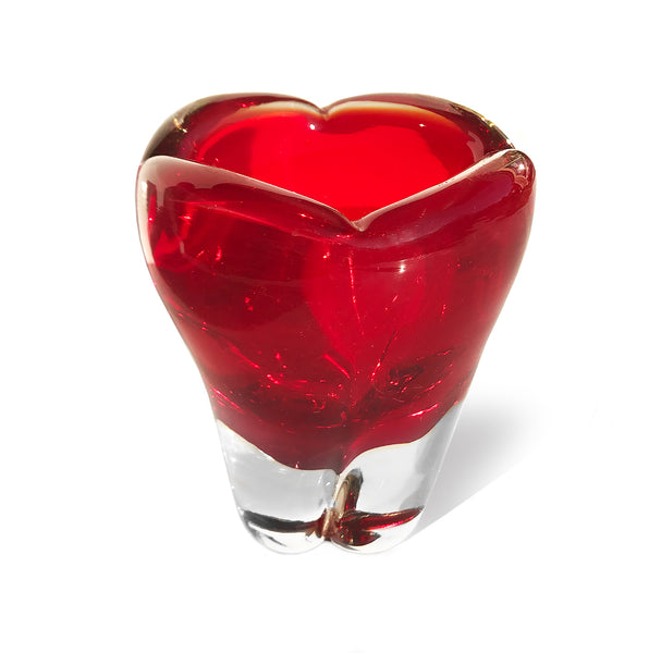 Beautiful Whitefriars Ruby Red glass 'Molar' vase, designed by Geoffrey Baxter, pattern number 9410. COLOUR: Ruby Red - SHOP NOW - www.intovintage.co.uk