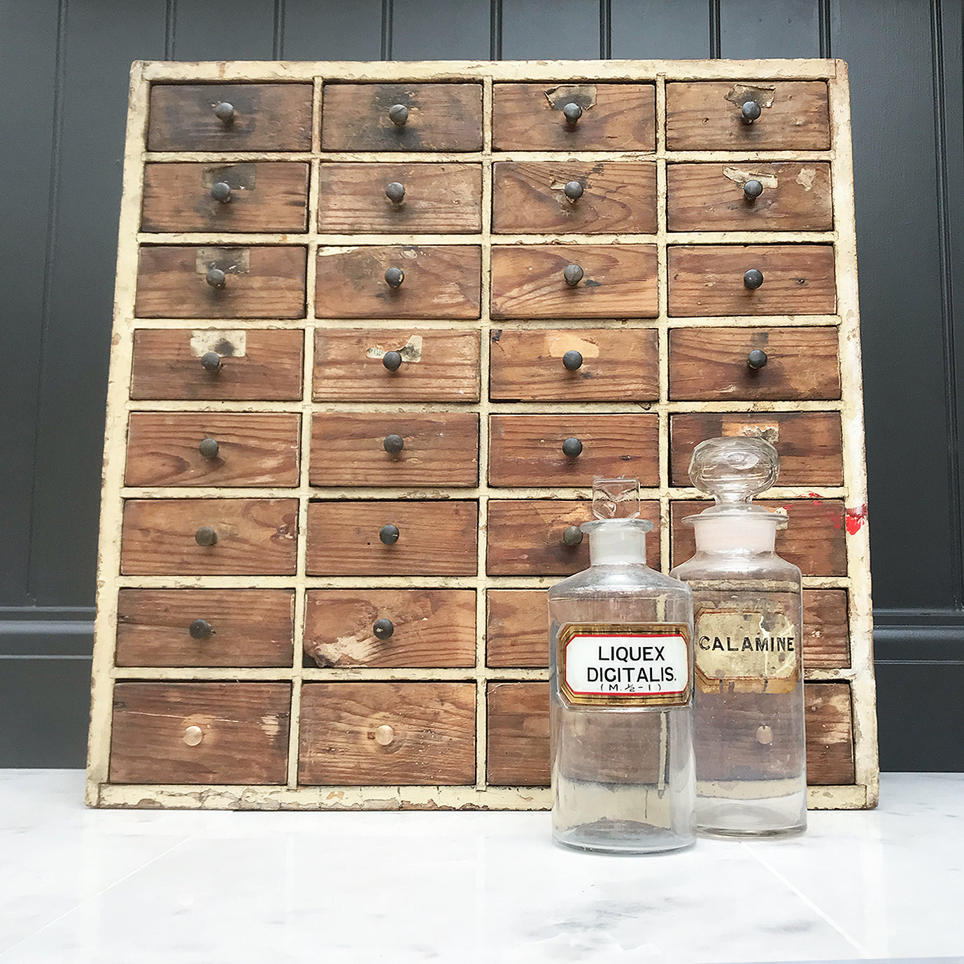 A nice bank of Edwardian Pine Work Drawers in original and untouched condition, lovely chipped paint and original patina. 32 drawers with small brass knobs to keep all of your Knicks & Knacks in - SHOP NOW - www.intovintage.co.uk
