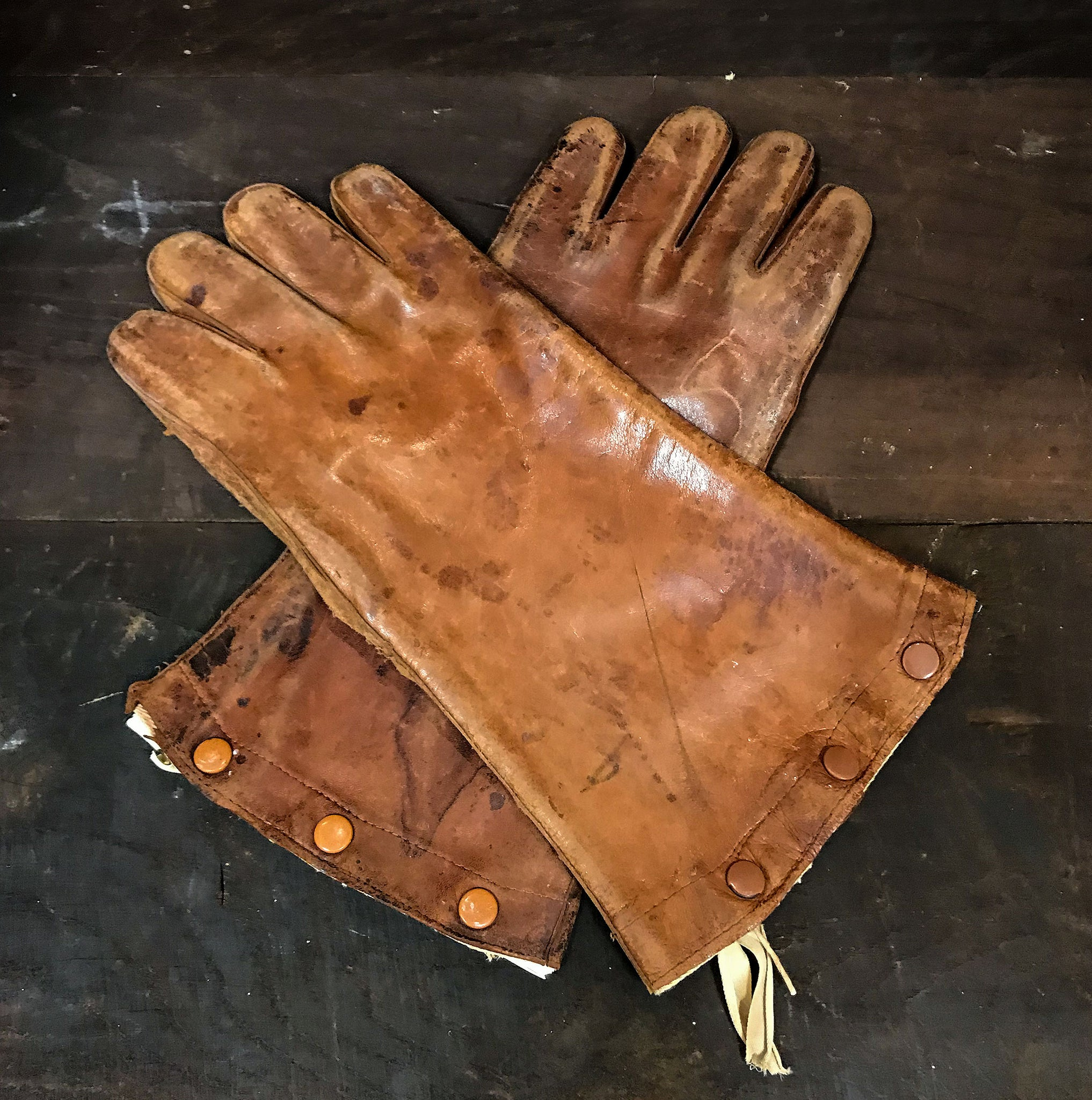 Pair of vintage leather X Ray gloves lined with lead. SHOP NOW - www.intovintage.co.uk