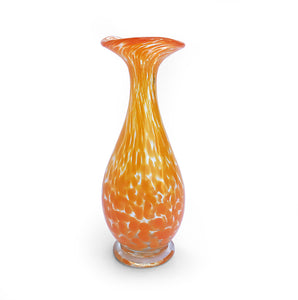 Dappled Yellow Czech Spatter Glass Vase looks stunning in natural light. It's top lip reminiscent of a Lily flower - SHOP NOW - www.intovintage.co.uk