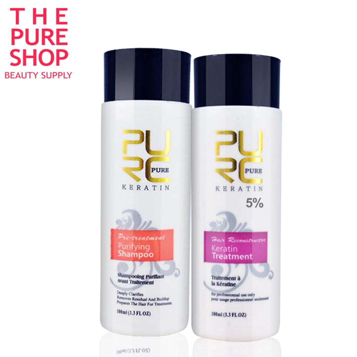 2PCS Keratin Treatment + Purifying Shampoo PURE
