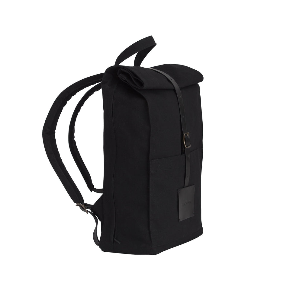 Top Roll Backpack Solid Black