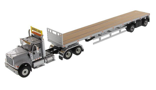 1:50 Tracto Gris Claro International Hx520 Tandem - Dm71041 Trailer & Camabaja