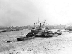 Coal barges frozen on River Medway 1963