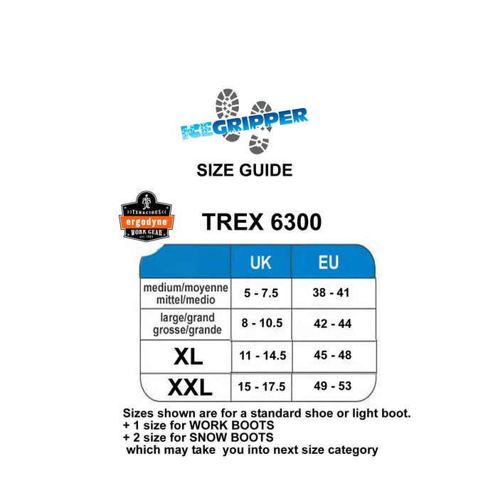 ERGODYNE TREX 6300 size guide at ICEGRIPPER