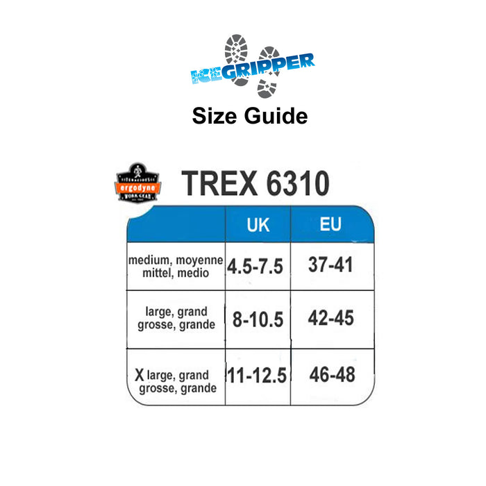ERGODYNE TREX 6310 size guide at ICEGRIPPER