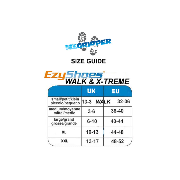 EzyShoes X-Treme Size Guide from ICEGRIPPER