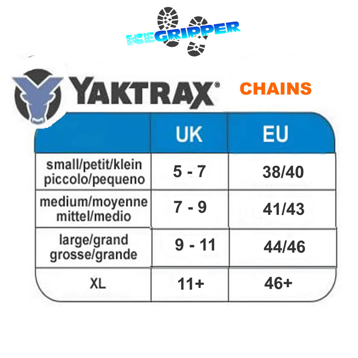 Yaktrax Chains size guide by ICEGRIPPER