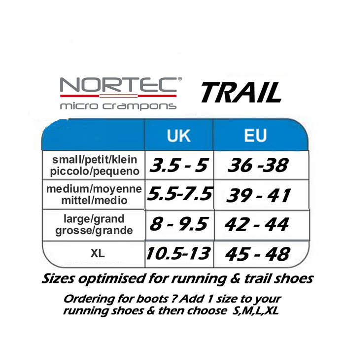 Norted TRAIL size guide from ICEGRIPPER