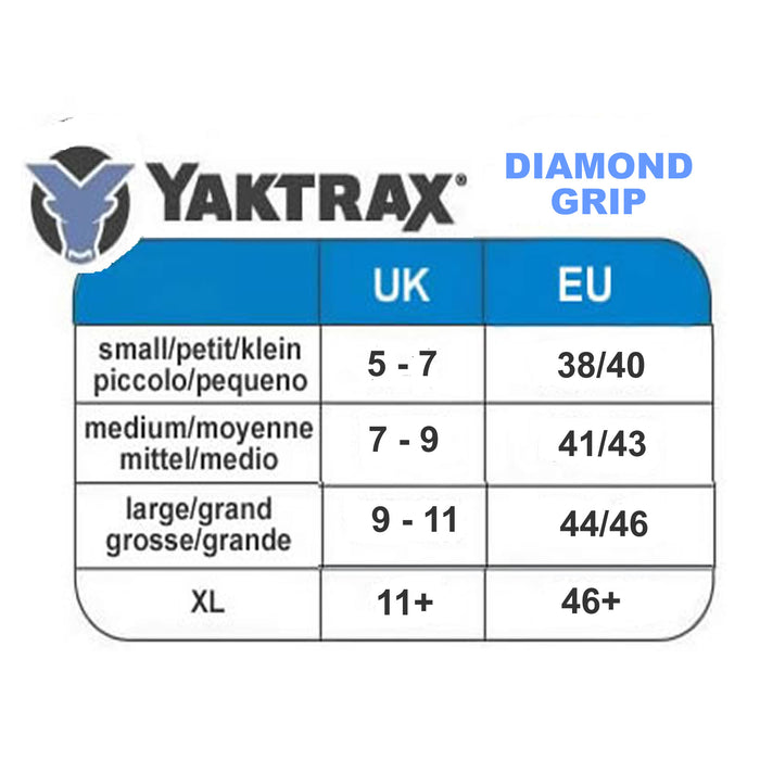 Yaktrax Diamond Grip size guide from ICEGRIPPER