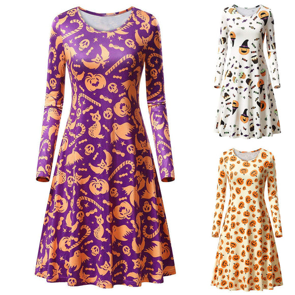 Long Sleeve Pumpkins Print Halloween Dresses