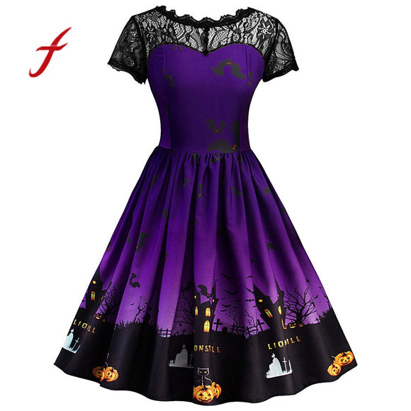 Short Sleeve Halloween Retro Lace Vintage Dress