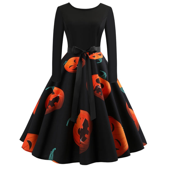 Halloween Party Ball Gown Bow Waist Pumpkin Print Dress