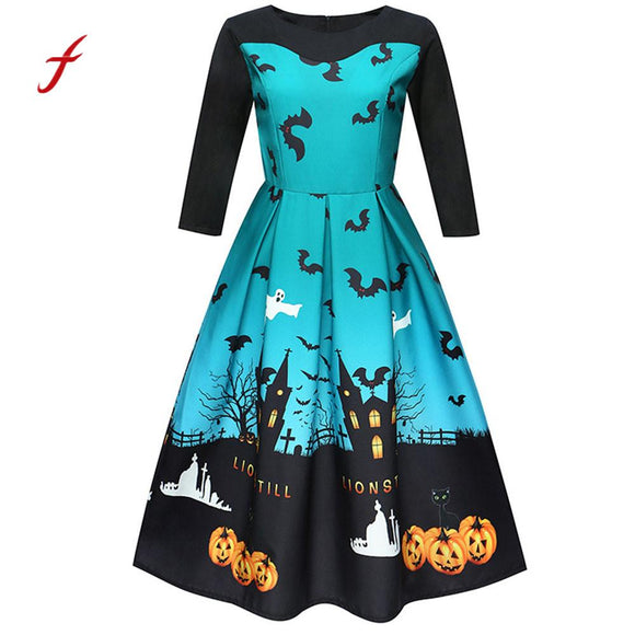 Halloween Printing Three Quarter Casual Evening Party Swing Dress