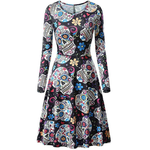 Casual Three Quarter Sleeve Halloween Printed Dress