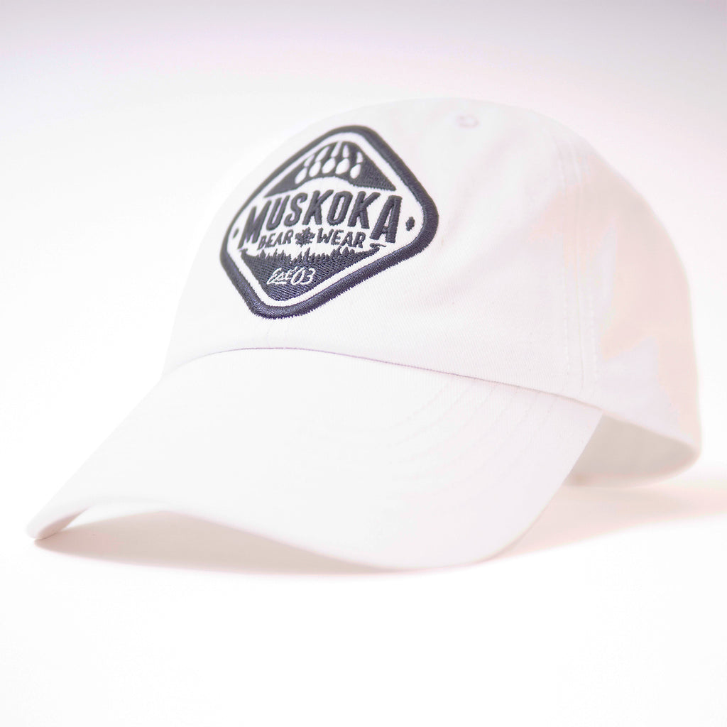 Muskoka Bear Wear - Baseball Cap in White with Charcoal
