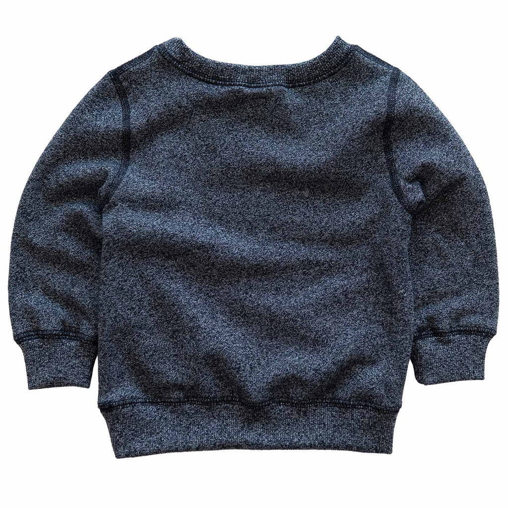 Infant Crewneck in Heather Black with White