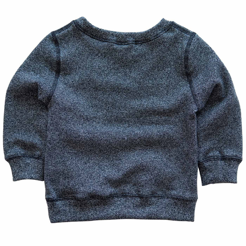 Infant Crewneck in Heather Black with Lilac