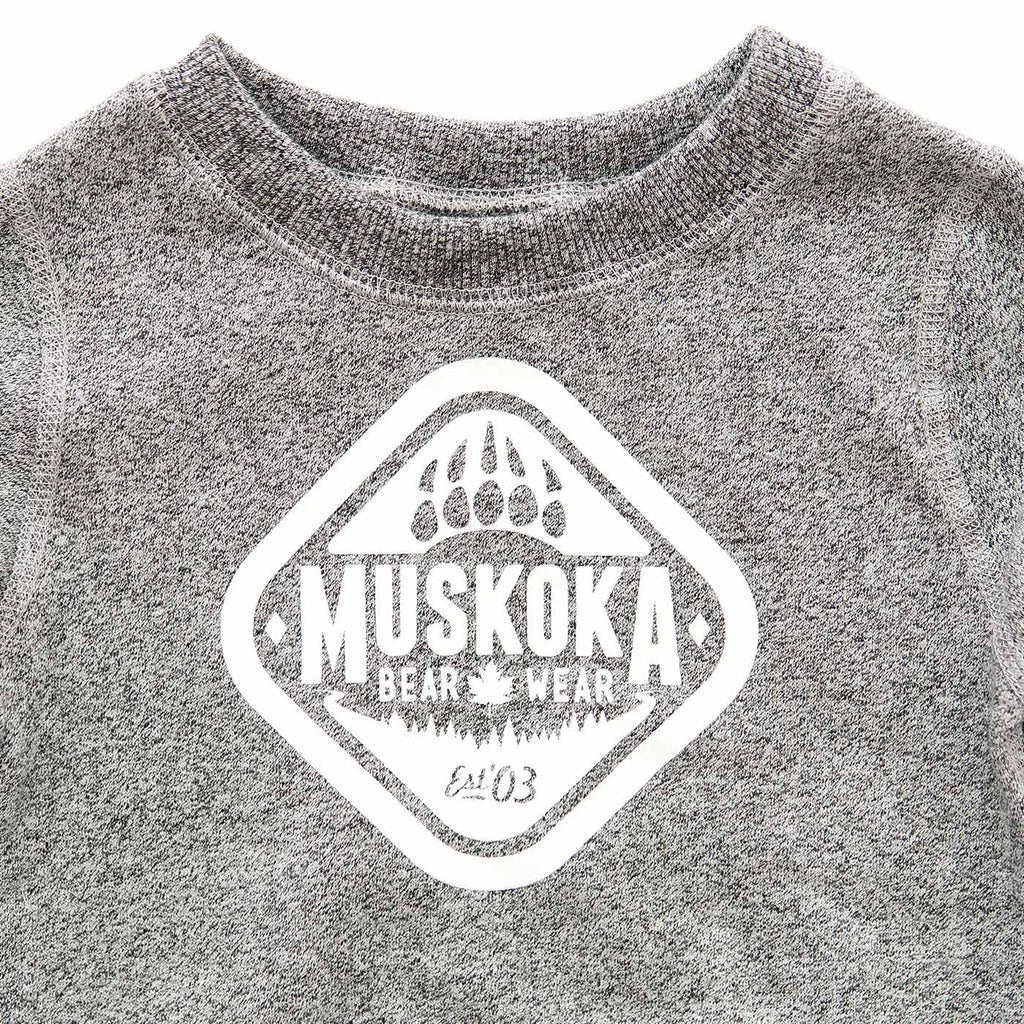 Infant Crewneck in Heather Grey with White