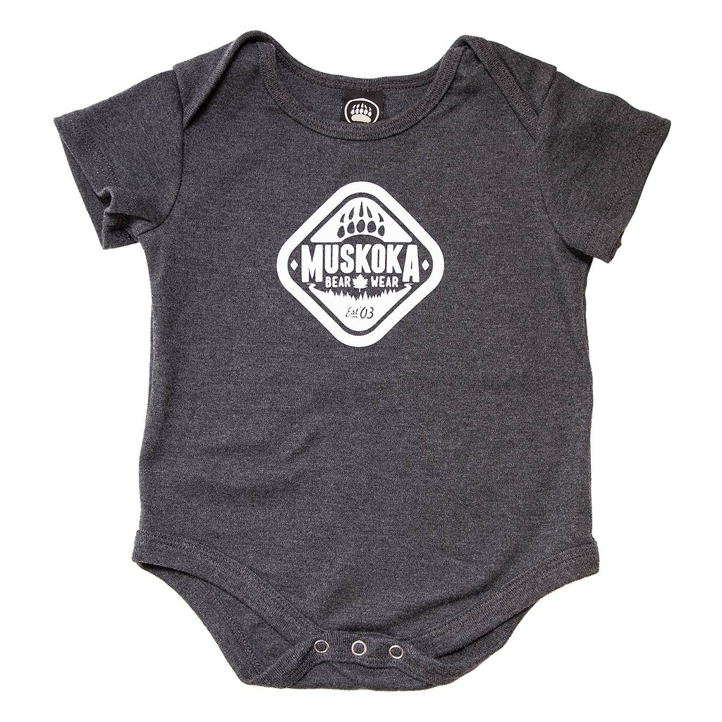 Muskoka Bear Wear – Infant Onesies in Charcoal with White