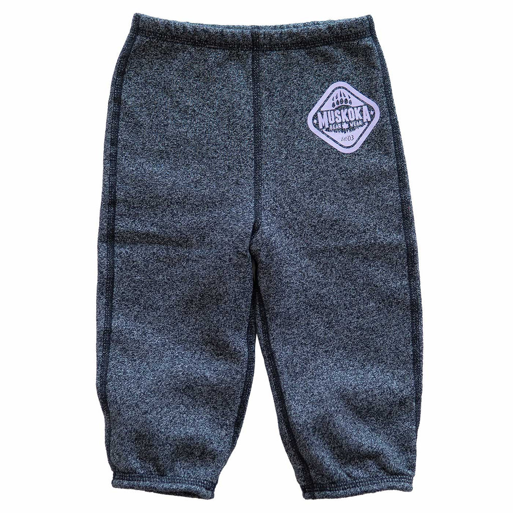 Infant Paw Pants in Heather Black with Lilac