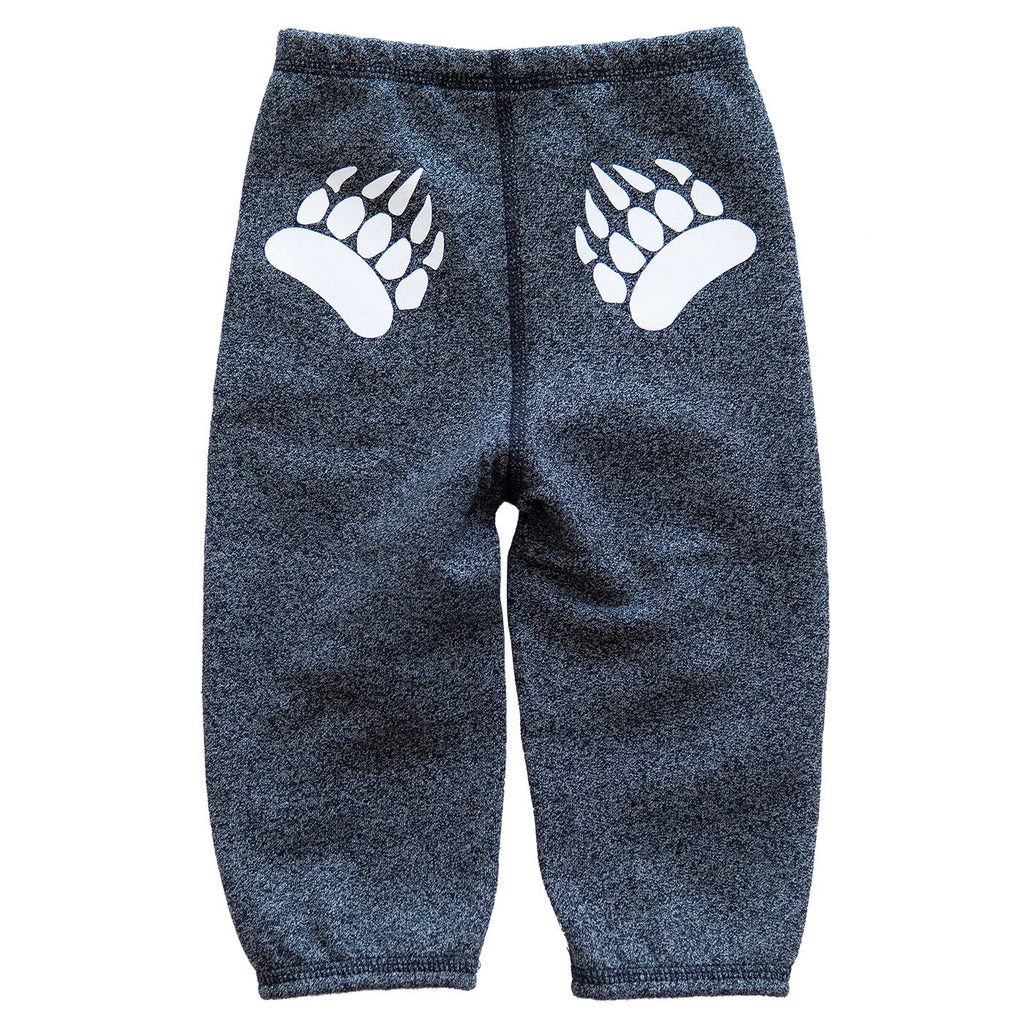 Infant Paw Pants in Heather Black with White
