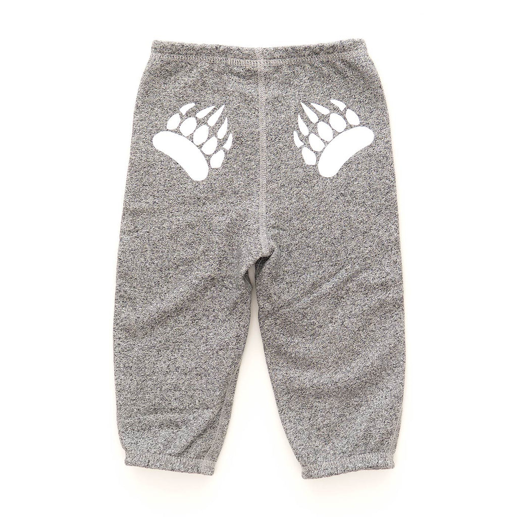 Infant Paw Pants in Heather Grey with White