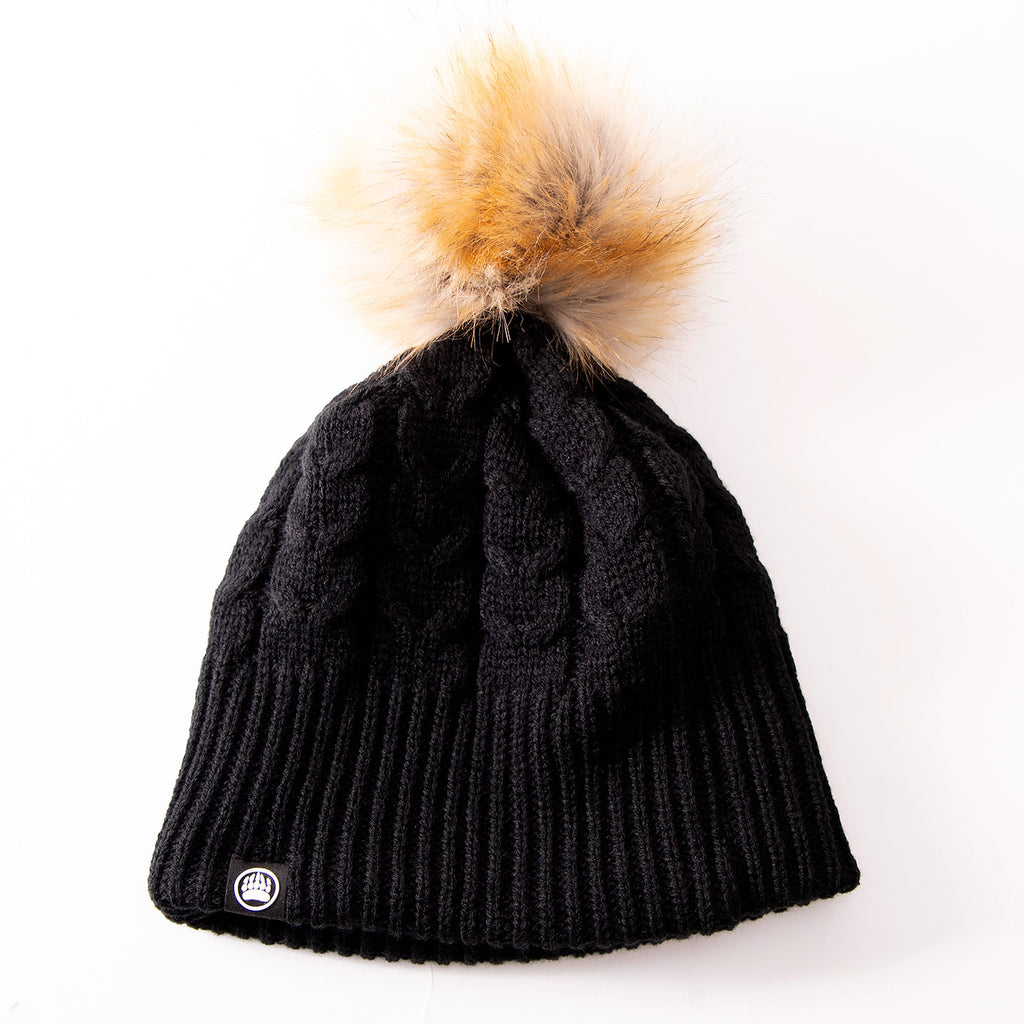 MBW Ladies Knit Toque in Black with Faux Fur Pom