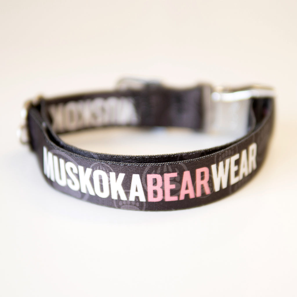 Muskoka Bear Wear – MBW Dog Collar in Charcoal with Pink
