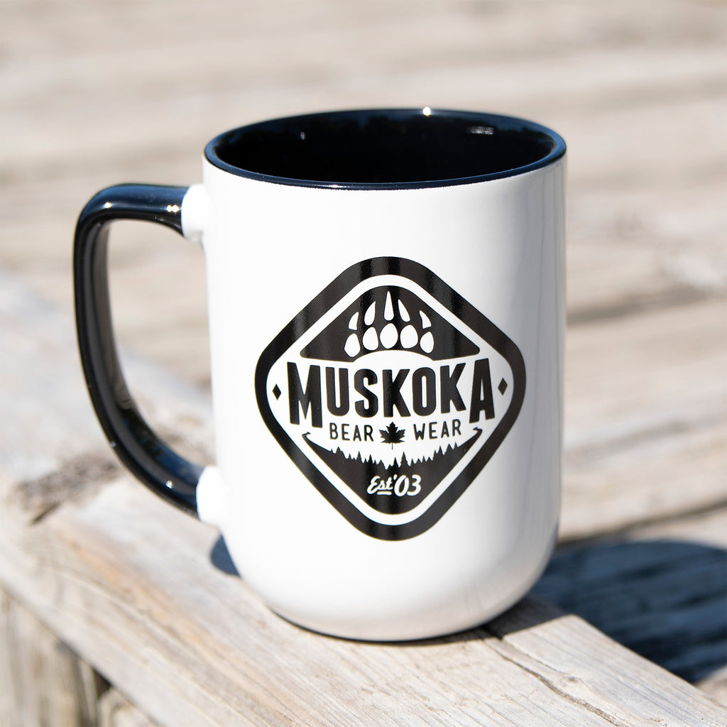 MBW Coffee Mug in White with Black Trim